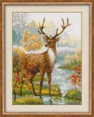 Вышивка белый олень