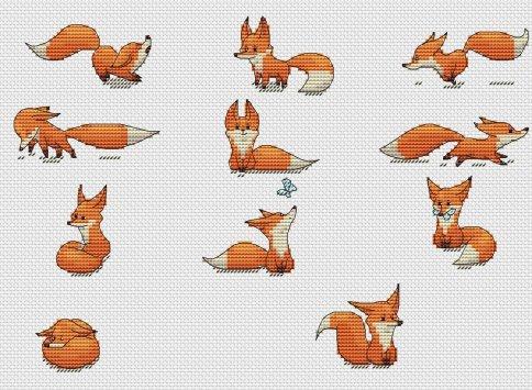 Схемы для вышивки крестом лисички 296