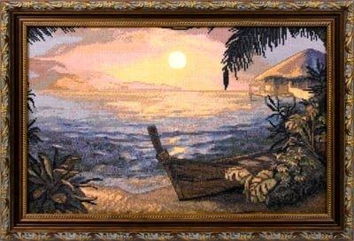 Лодки на берегу схема вышивки крестом